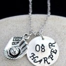 Baseball Necklace with hand stamped Name and number,team sport Custom Necklace
