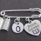 Personalized Book Lover Kilt Pin, Book Lovers Safety Pin, Book Charm Kilt Pin