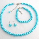 Turquoise Blue Pearl Necklace Set Great Flower Girl Brides or Bridesmaid Gifts