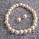 Blush Pink Pearl Stretchable Bracelet with Stud Earrings Bridesmaid Jewelry