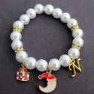 Christmas Bracelet With Gift Box Initial,Half Moon Charm,Christmas Gift for her