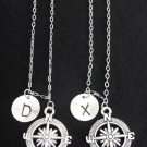 Compass Initial Necklace, Couples Gift Jewelry, Best Friend Compass Necklace