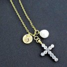 Gold Cross Necklace with Initial & Freshwater Pearl,Jesus Necklace,Communion Gif