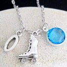 Rollerskate Necklace Best friend,friendship necklace personalized with Birthston