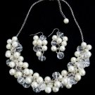 Ivory Pearls Cluster Necklace Earrings Set Pearl With Clear Crystals Bridal Set