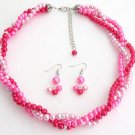 Fuchsia Magenta Hot Pink Twisted Statement Three Strand Necklace Earring Set