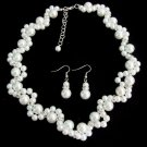 White Pearl Necklace Earrings Set Bridesmaid,Flower Girl Wedding Jewelry