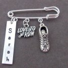 Love to Run Kilt Pin,Marathon Safety Pin,Runner gift,Personalized Runners Brooch