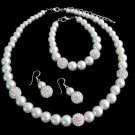 White Pearl Rhinestones Necklace set Wedding Bridal Bridesmaid Jewelry Set