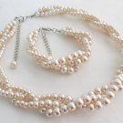 Blush pink Braided 3 strand Necklace & Bracelet,Wedding Jewelry,Bridesmaid Gift