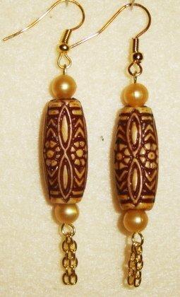Brown Barrel Earrings