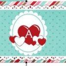 Cupcake Box Valentine's Day Aqua Letter A ~ Z ~ 1 Dozen