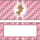 Valentine's Day Candy Bar Wrapper Cupid Bear Pink Stripe