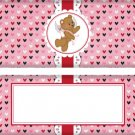 Valentine's Day Candy Bar Wrapper Cupid Bear Red Stripe