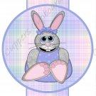 Easter Pencil or Straw Slider ~ Pastel Plaid Bunny ~ 3 Dozen Set