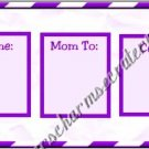 Mommy & Daddy Play Date Calling Cards ~ Purple Squares ~ Set of 30 Cards