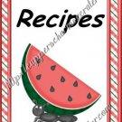 """Recipe Book 4"""" X 6"""" Size ~  Watermelon Theme"""