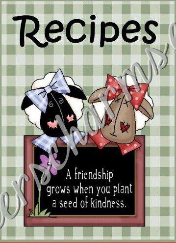 recipe book 4 x 6 size best friends theme