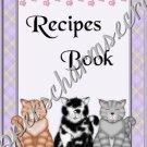 "Recipe Book 5"" X 7"" Size ~ Kitty Cat"