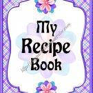 "Recipe Book 5"" X 7"" Size ~ Purple Flowered"