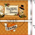 Give Thanks Thanksgiving Standard Size Candy Bar Wrapper
