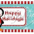 Happy Holidays Penguin Christmas Pint Glass Jar Set