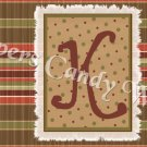 Brown Striped Background MINI Candy Bar Alphabet Wrappers
