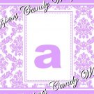 Lavender Baby Damask MINI Candy Bar Alphabet & Numbers Wrappers