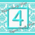 Aqua Baby Blocks Damask MINI Candy Bar Alphabet & Numbers Wrappers