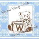 Blue & Brown Teddy Bear Blocks Damask  MINI Candy Bar Alphabet  Wrappers