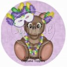 Mardi Gras Teddy  Cupcake Picks & Toppers