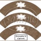 Linen Brown White Curley Text Box ~  Cupcake Paper Wrappers ~ Set of 1 Dozen