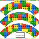 Faux Lego Legos Set #4 ~  Cupcake Paper Wrappers ~ Set of 1 Dozen