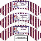 Red, White and Blue Bear #1 ~  Cupcake Paper Wrappers ~ Set of 1 Dozen