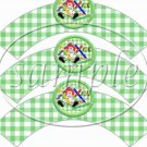 Green Gingham Rag Doll  ~  Cupcake Paper Wrappers ~ Set of 1 Dozen