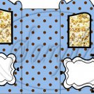 Blue with Brown Polka Dots  ~Carriage Popcorn Box or Gift Box
