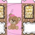 Pink Stripe Teddy ~ Carriage Popcorn Box or Gift Box