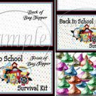 Back To School Survival Kit Blank Back ~ Treat Bag Toppers