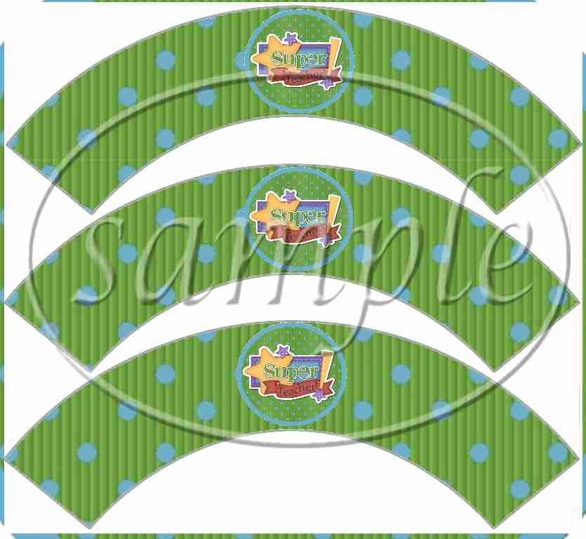Super Teacher ~  Cupcake Paper Wrappers ~ Set of 1 Dozen