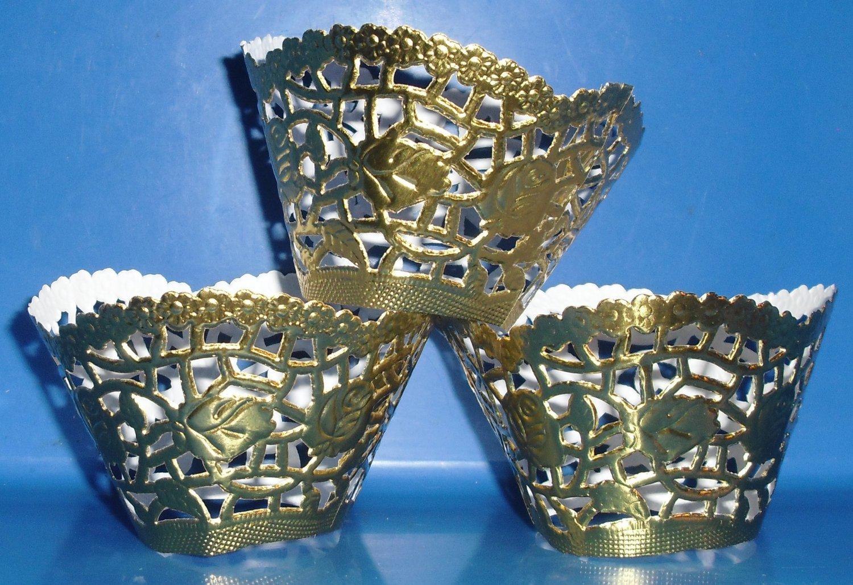 Gold Foil Lace  ~  Cupcake Paper Wrappers ~ Set of 1 Dozen