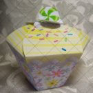 Cupcake Box ~ Standard Size ~ White & Yellow Icing with Flowered  Wrapper