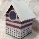 Pink & Brown Stripe ~  Mini Birdhouse