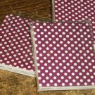 Burgandy  with White Polka Dots  ~ Mini Nail Files