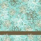 Aqua & Brown Flowers #2 ~ MINI Matchbook Nail File COVER