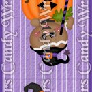 Happy Halloween Purple Stripes ~ MINI Matchbook Nail File COVER