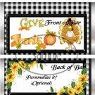 Thanksgiving Black Checkered ~ Standard 1.55 oz Candy Bar Wrapper  SOE