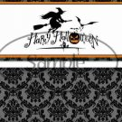 Witch Black Damask Halloween ~ Standard 1.55 oz Candy Bar Wrapper  SOE