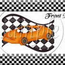 Faux NASCAR Orange ~ Quart Glass Jar