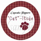 Cat -itude Red ~  Cupcake Pick & Toppers ~ Set of 1 Dozen
