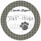 Cat -itude Sage ~  Cupcake Pick & Toppers ~ Set of 1 Dozen